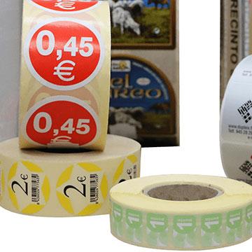 Comerin. Etiquetas adhesivas Sectores. Promoción y marketing